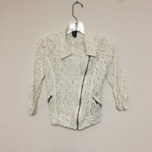 Stooshy lace zip jacket faux zipper pockets XS